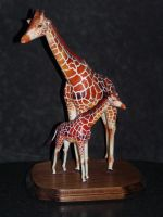 Paper Giraffe Mother and baby by zandere123