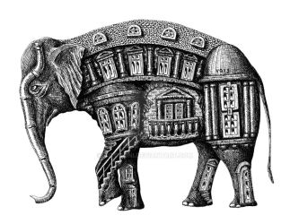 Elephant Building surreal pen ink drawing by Vitogoni