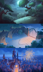 Nightime Backgrounds by ApollinArt