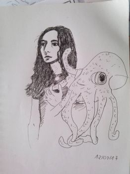 L. and an octopus by Fyreah