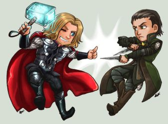 Thor and Loki by oneoftwo