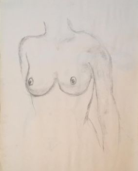 Two Minute Nude Female Torso, Breast Study by Nathan-Brice-Art