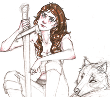 Arya Stark and wolf sketch by hedgehog-in-snow