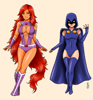Teen Titans 4: Starfire and Raven by XenonVincentLegend