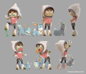 Girl and fox - action poses by the10s