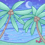 [AT] Night Beach Pixel by faundly