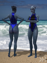 Liara Black and Blue Swimsuit (XPS) by Grummel83