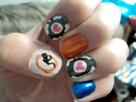 Gamer nails on geek nails deviantart jeealee 16 0 portal nail art by prettyandpolished prinsesfo Images