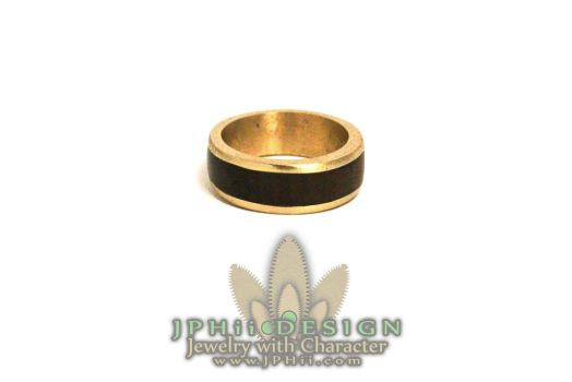 Gold Walnut Wedding Band by jphiijewelry