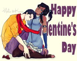 Mako and Korra on Valentine's Day by Purple-Meow