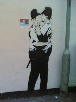 Banksy Kissing Policemen by Technae