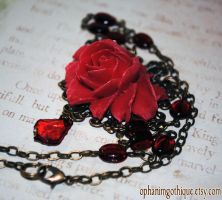 Rose Red Necklace by OphanimGothique