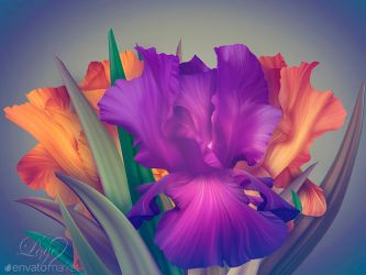 Fantasy Irises for contest on Envato. by Love-Kay