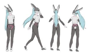 Bunny Mask Girl Concept Sketch by Fox-Candy