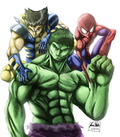 Hulk, Wolverine and Spidey by TheArtistJ