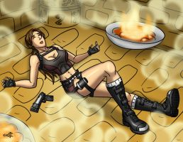 Knocked out Lara by geekling