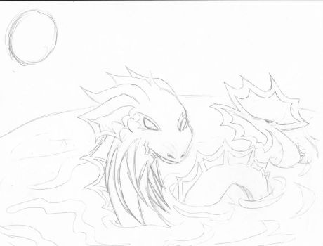 Water dragon sketch by theMidnghtWolfStar
