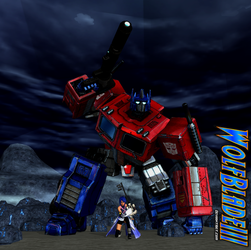 Optimus Prime and Aqua In The Realm of Darkness. by WOLFBLADE111