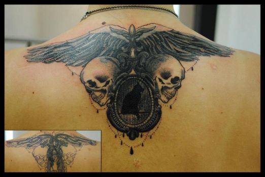 Cover Up Neo Traditional by RosaroterPanda