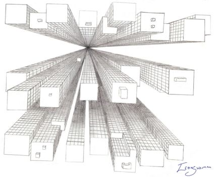 1 point perspective sketch by Kenny-E-Beck
