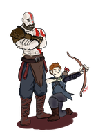 Kratos and Atreus by StroopDOG