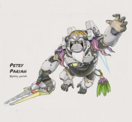 Pokemon X Overwatch: Oranguru X Winston by PeteyPariah