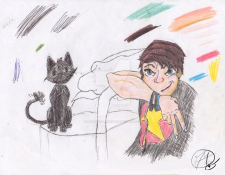 My Cousin and her Cat  by MrPhysisThePen