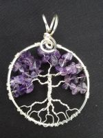 Amethyst Round Tree In Silver by BacktoEarthCreations