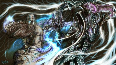 Diablo III Monk and Mystic Ally by radioactiveroach