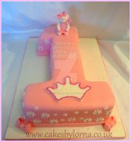 Number One Shaped Birthday Cake by cakesbylorna