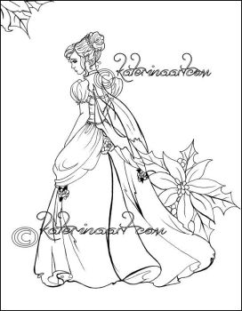 Christmas Fairy Coloring Page by Katerina-Art