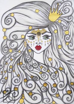 The girl and the golden beads. by hildur-k-o