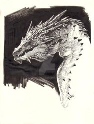 Inktober 2016 - Day 07 - Smaug by giovannag