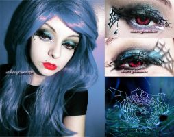 Spider Halloween Makeup Inspired Edgy Look by cherrybomb-81