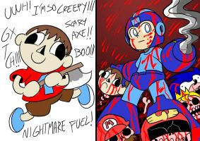 Super Smash Bros: Megaman vs Villager by BlueStrikerBomber