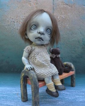 BJD Art Doll.  Toddler Girl with a Teddy Bear.  Br by VeronikaLozovaya