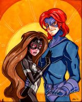 Girl Black Bolt and Boy Medusa by CapnFlynn
