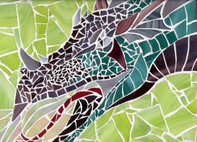 Glass Dragon Mosaic by jocarra