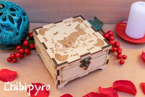 wolf dog cub engraved wooden box