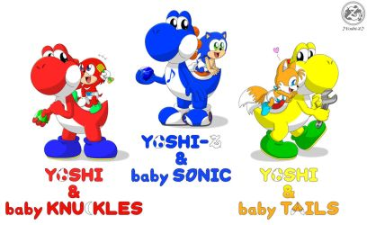 Yoshies and team baby Sonic by Music-Yoshi-Z