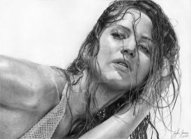 'Drenched'   Drawing of Jennifer Lawrence by TaylorGP