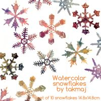 watercolor snowflakes by takmaj