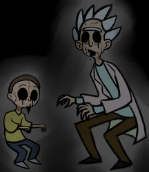 Have some creepy Rick and Morty art owo by Glitched-Irken