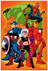 Marvel Heroes and Hawt Girl by KidNotorious