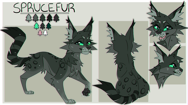 Sprucefur Reference Sheet (Commission) by miauzen