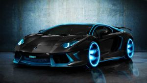 Tron Lamborghini Aventador - HD Wallpaper by NIMArchitect