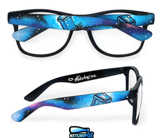 Tardis in space hand painted glasses by Ketchupize