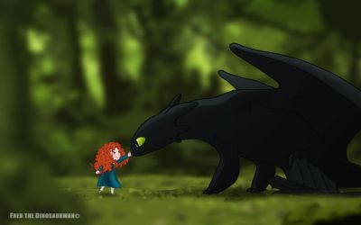 Little Merida meets Toothless by FredtheDinosaurman