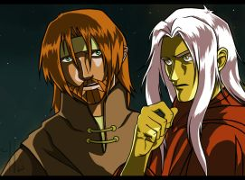 Tanis and Raistlin by Belegilgalad