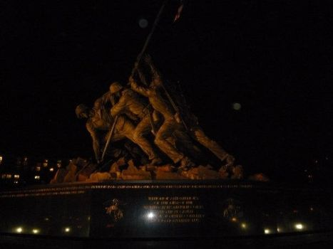 USMC Memorial At Night by MarineRaider